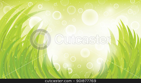Vector green natural background stock vector clipart, Green natural background with grass and rain, vector, format eps10 by Alex Gontar