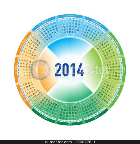 2014 Calendar stock photo, Calendar for Twenty-fourteen. Rotating design on white by dvarg