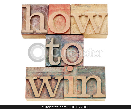 how to win in letterpress wood type stock photo, how to win - isolated text in vintage letterpress wood type stained by color inks by Marek Uliasz