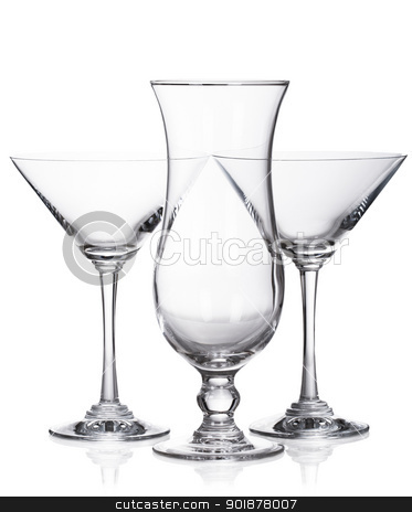 Hurricane and martini glasses isolated on white background stock photo, Hurricane and martini glasses isolated on white background by Alexander Tarasov