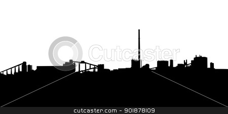 Mining Industry Silhouette stock vector clipart, Mining Industry Horizon Silhouette in Isolation with Chimneys by Snap2Art