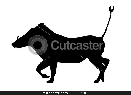 Isolated Silhouette Warthog Running stock vector clipart, Isolated Silhouette Warthog Running with Tail in Air by Snap2Art