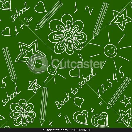 Back to school chalk-drawn seamless pattern stock vector clipart, Back to school. Chalk-drawn seamless pattern on a green blackboard by Allaya
