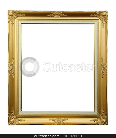 Gold louise photo frame  stock photo, Gold louise photo frame over white background , clipping path  by kongsky