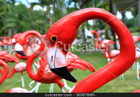 Flamingos statue stock photo, Close up of red flamingos statue in park by kongsky