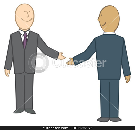 Businessmen Shaking Hands stock vector clipart, Two cartoon businessmen about to shake hands. by Jamie Slavy