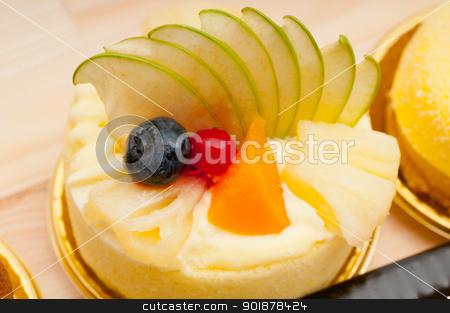 fresh berry fruit cake stock photo, fresh berry fruit cream cake pastry closeup by Francesco Perre