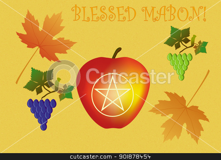 Mabon greeting card stock vector clipart, Sacred Mabon, important Wiccan holiday, autumn equinox day, September 22, day of fruits by Viacheslav Belyaev