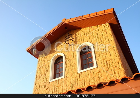 Italian house style  stock photo, Italian house style on blue sky  by kongsky
