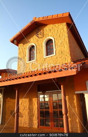 Italian building style  stock photo, Italian building style on blue sky  by kongsky