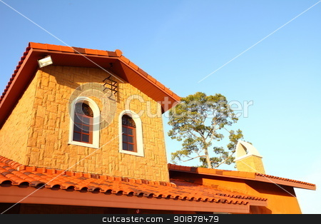 Italian house style  stock photo, Italian house style on blue sky  by kongsky