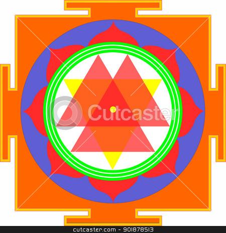 Shri Durga-Yantra stock vector clipart, Sacred Yantra of Shrimati Durga Devi by Viacheslav Belyaev