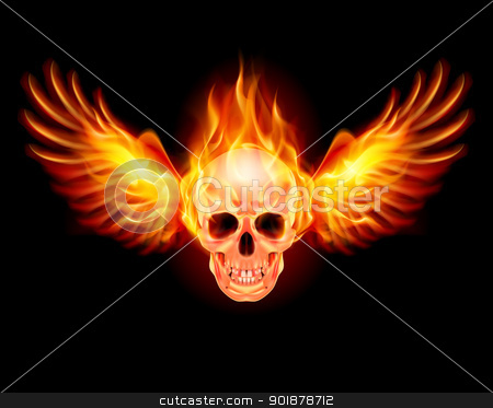 Flaming Skull stock photo, Flaming Skull with Fire Wings. Illustration on black by dvarg