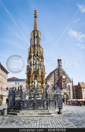 fountain in Nuremberg stock photo, An image of a nice fountain in Nuremberg Bavaria Germany by Markus Gann