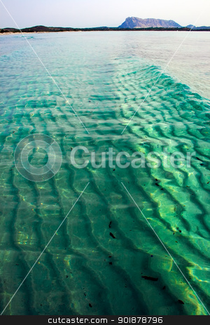 Wave in the sea stock photo, Green Tyrrhenian Sea near la Cinta beach, Sardinia, Italy by Alexey Popov