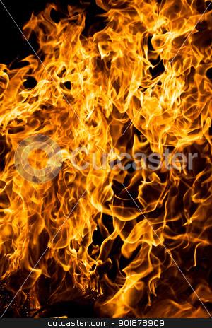 Fire stock photo, Orange flame burning on black background by Alexey Popov