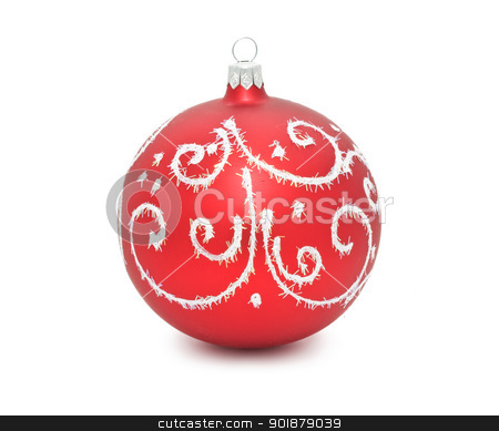 Christmas ball stock photo, Christmas tree decoration ball isolated on white background by Alexey Popov
