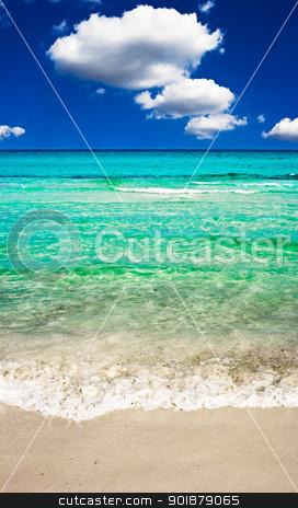 Perfect beach stock photo, Clear sea and sandy beach by Alexey Popov