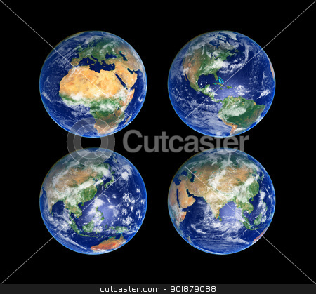 Four Globes stock photo, Four Earth Globes with clouds, high res pictures by Alexey Popov
