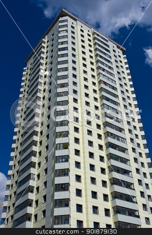 Building stock photo, Modern apartment building under blue sky by Alexey Popov
