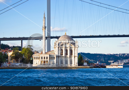Ortakoy Mosque stock photo, Ortakoy Mosque and Bosphorus bridge in Istanbul, Turkey by Alexey Popov