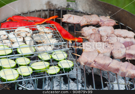 Food on the grill for a barbeque stock photo, Prepared fresh vegetables and skewered meat ready to grill over the hot coals on an outdoor barbeque by Kai Schirmer