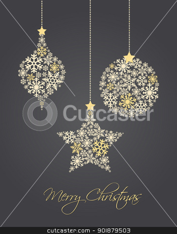 Christmas ball stock vector clipart, Christmas ornaments made from snowflakes vector illustration by Miroslava Hlavacova