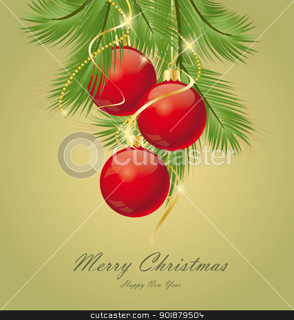 Christmas background stock vector clipart, Vector Christmas background decorated with branches  by Miroslava Hlavacova