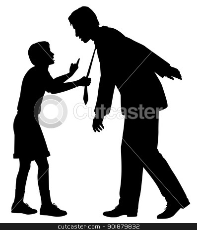 My future stock vector clipart, Editable vector silhouette of a young boy warning a man who could be his father or a businessman as a concept of responsibility to future generations by Robert Adrian Hillman