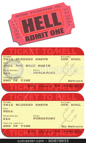 Ticket to hell stock vector clipart, Editable vector illustrations of tickets to Hell by Robert Adrian Hillman