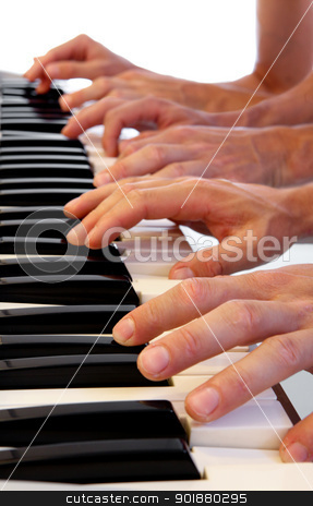 Six hands on grand piano stock photo, Six hands playing simultaneously on a grand piano with bright white background by Dario Rota