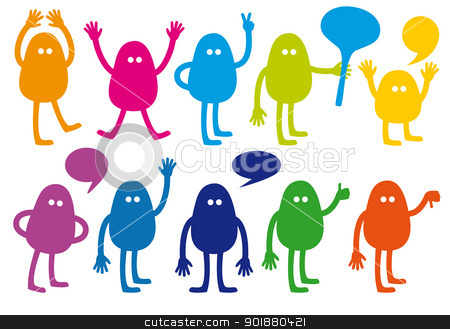 vector monster set stock vector clipart, colorful monsters with hand signs, vector set by Beata Kraus