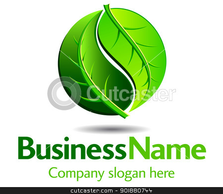 Green Logo stock vector clipart, Green logo concept using Yin Yang in a leaf design by Fenton