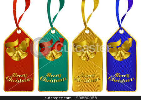 Merry Christmas gift tags stock vector clipart, Christmas gift tags in four rich colors by Fenton