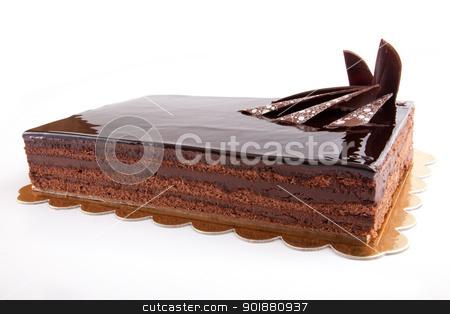 Chocolate Cack stock photo, Chocolate glossy dark Cake on white stuffed with nuts by amgadedwardart
