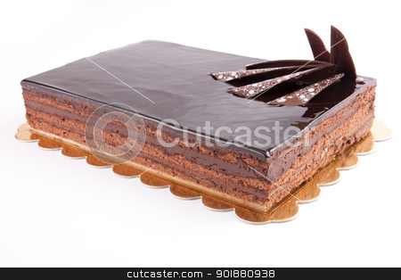 Cack stock photo, Chocolate glossy dark Cake on white stuffed with nuts by amgadedwardart