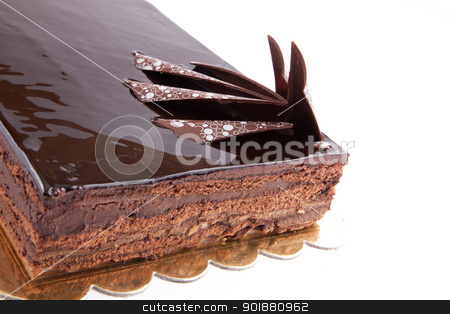 Chocolate Cack stock photo, Chocolate glossy dark Cake on white stuffed with nuts by amgadedwardart