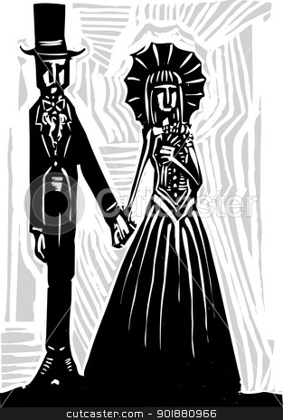 Gothic Marriage A stock vector clipart, A Gothic couple in fancy dress getting married or going to prom. by Jeffrey Thompson