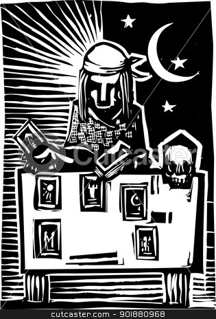 Gypsy Tarot Card Reading A stock vector clipart, Woodcut style image of a gypsy giving a tarot reading. by Jeffrey Thompson