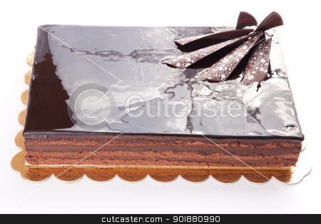 Chocolate Tart stock photo, Chocolate glossy dark Cake on white stuffed with nuts by amgadedwardart