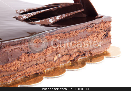 Chocolate Tart stock photo, Chocolate glossy dark Cake on white stuffed with nuts by amgadedwardart