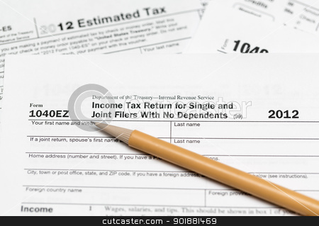 USA tax form 1040ez for year 2012 stock photo, Tax form 1040ez for tax year 2012 for US individual tax return by Steven Heap