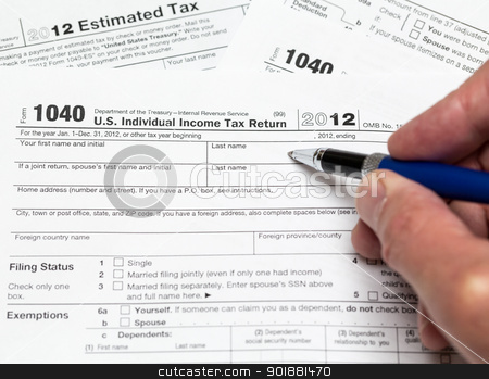 USA tax form 1040 for year 2012 stock photo, Tax form 1040 for tax year 2012 for US individual tax return with hand by Steven Heap