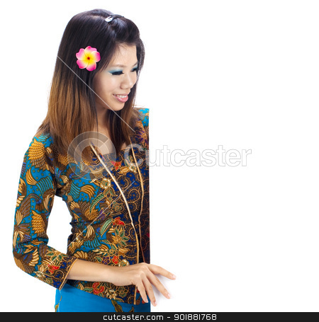 Asian women stock photo, Asian women with Traditional Kebaya holding a blank sign. by szefei