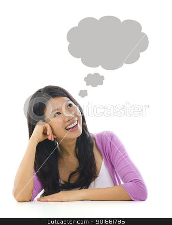 Thought bubble stock photo, Asian girl having a thought bubble over white background by szefei
