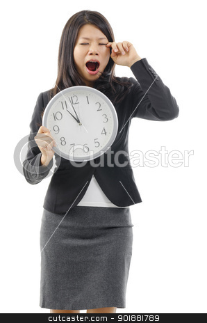 Lazy female late to work stock photo, Tired Asian business woman holding a clock and rubbing eye, isolated on white background. by szefei