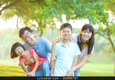 Outdoor fun stock photo, Happy Asian Family Outdoor Lifestyle by szefei