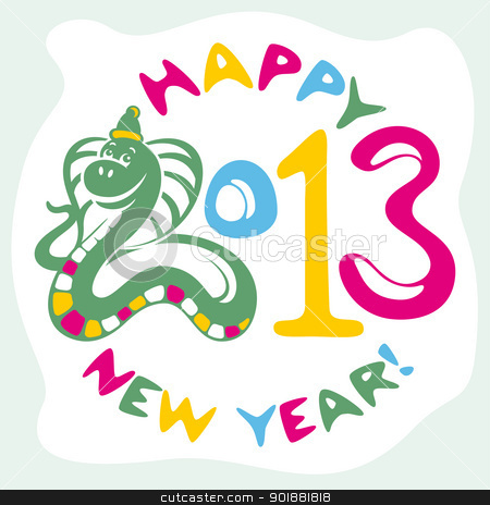new year card with snake stock vector clipart, new year card with funny snake vector illustration by SelenaMay