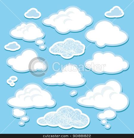 vector set of cartoon clouds stock vector clipart, set of simple cartoon clouds vector illustration by SelenaMay