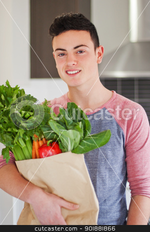 Good looking young man holding bag of fresh groceries stock photo, Good looking young man holding bag of fresh groceries by Stephen Laurence